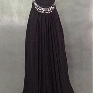 Long Chiffon Crystals Prom Dress, P..