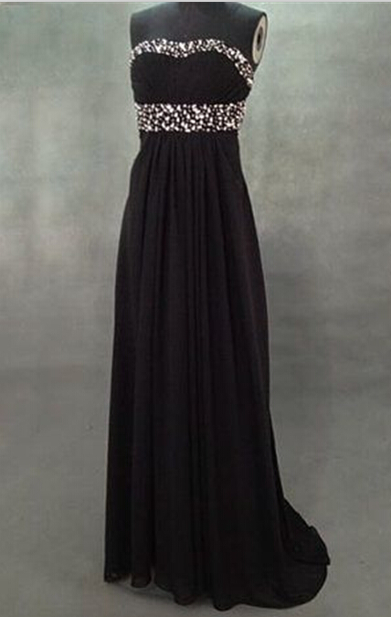 Long Chiffon Crystals Prom Dress, Party Dress, Evening Dress