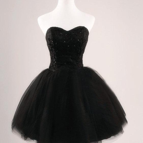 Short Black Tulle Prom Dress, Homecoming Dress, Cocktail Dress