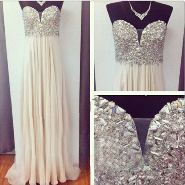 Chiffon Crystals Prom Dress, Party Dress